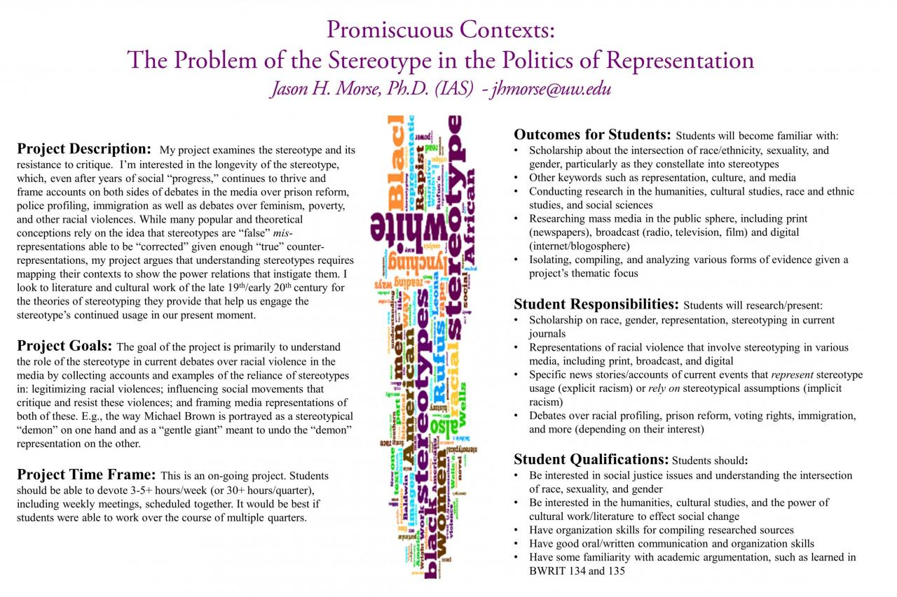 Promiscuous Contexts: The Problem of the Stereotype in the Politics of  Representation – UW Bothell Office of Research – Undergraduate Research  Database