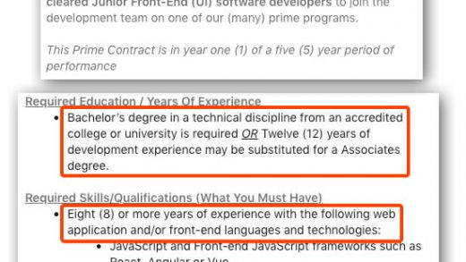Requiring eight years experience for a junior position is ridiculous (or:  How to get a job, part 1) : Global Nerdy