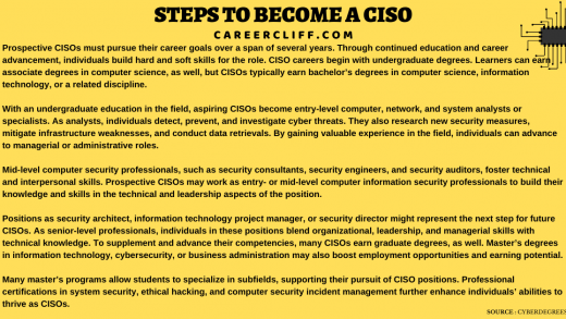 Chief Information Security Officer - Scope | Skills | Duties - Career Cliff