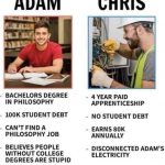 BACHELORS DEGREE IN PHILOSOPHY 100K STUDENT DEBT CAN'T FIND A PHILOSOPHY  JOB BELIEVES PEOPLE WITHOUT COLLEGE DEGREES ARE STUPID 4 YEAR PAID  APPRENTICESHIP NO ST… | Student debt, Just be happy, Philosophy