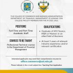 Jobs@UST: College Faculty Member for the Department of Financial Management  -