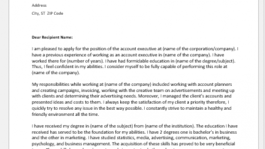 Cover Letter Samples for an Account Executive | Document Hub