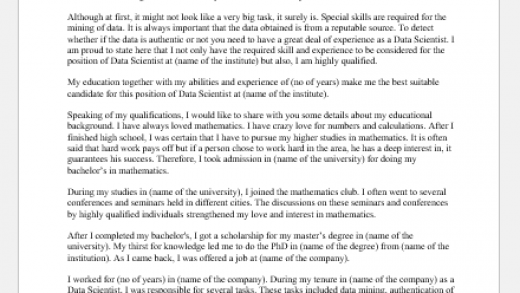 Cover Letter for the Position of a Data Scientist | Document Hub