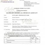 PA diploma evaluated as a Bachelor`s degree
